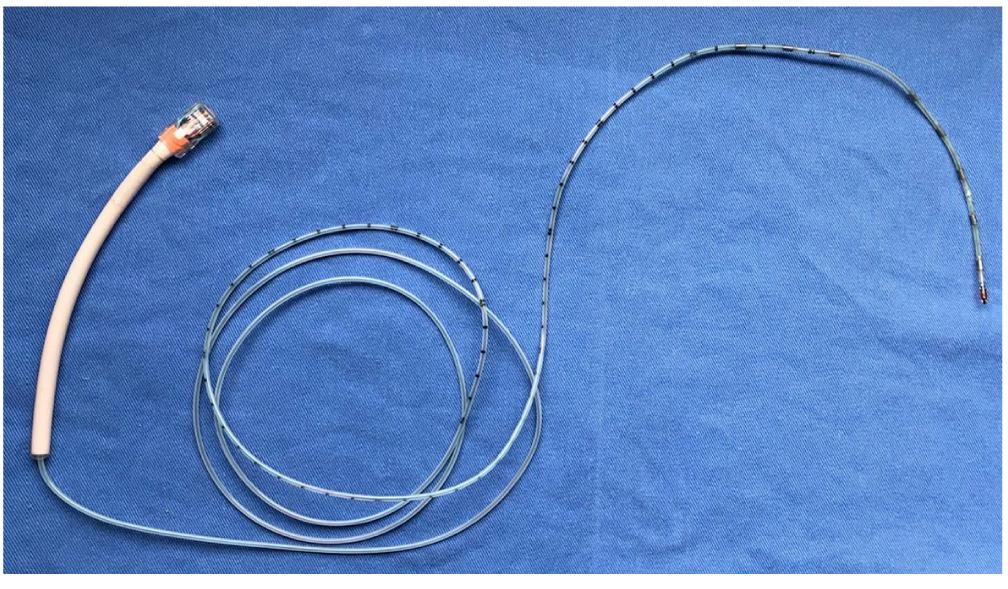 Figura 2. Catéter de pH-impedanciometría (un sensor de pH y 8 sensores de impedanciometría)