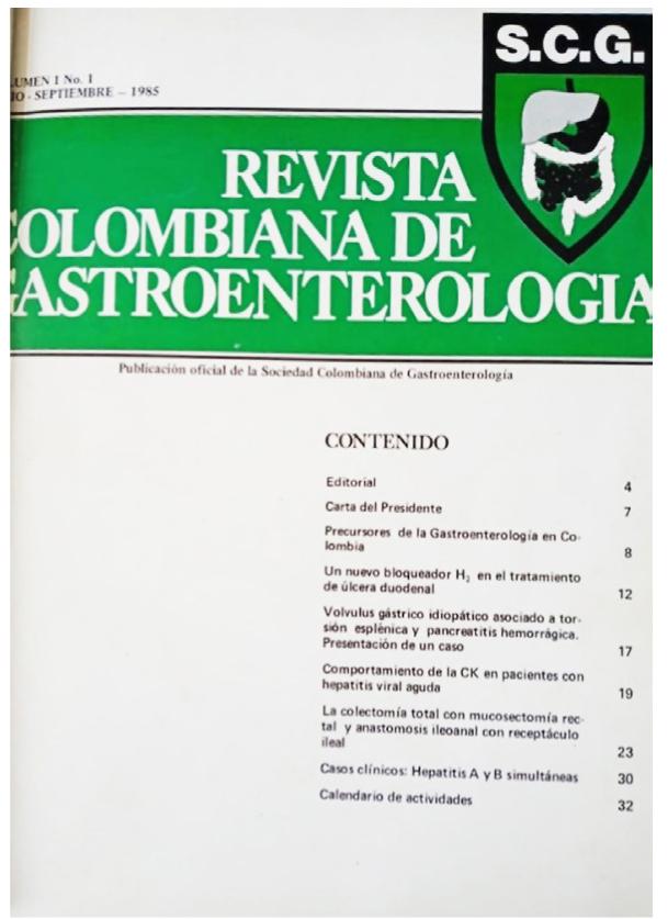 Figura 1. Primer número de la Revista Colombiana de Gastroenterología (julio-septiembre, 1985)